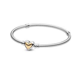 Bilde av Pandora domed golden heart clasp bracelet